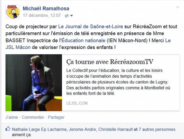 Annonce de la Une du JSL sur le compte Facebook
